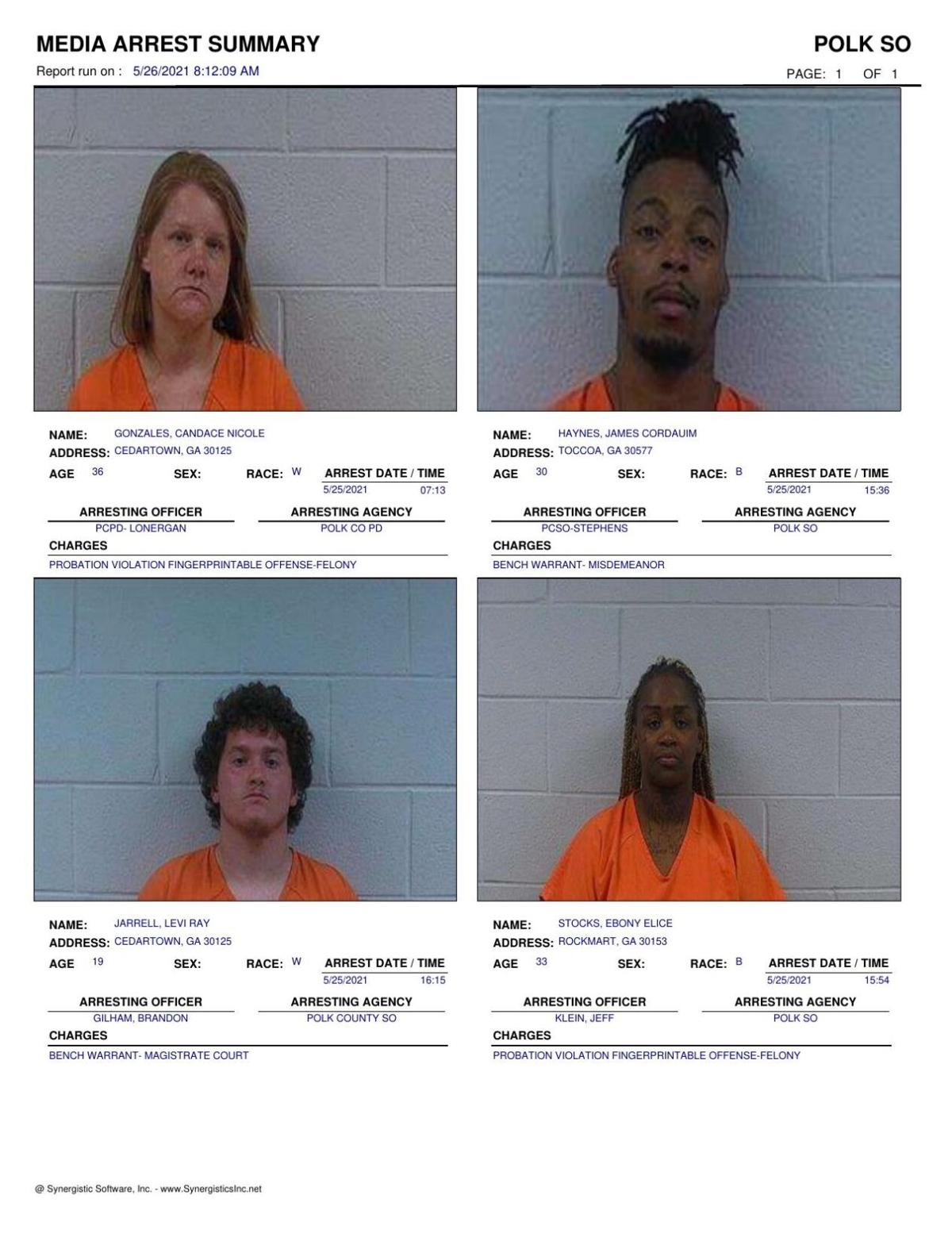 Polk County Jail Report for Wednesday, May 26