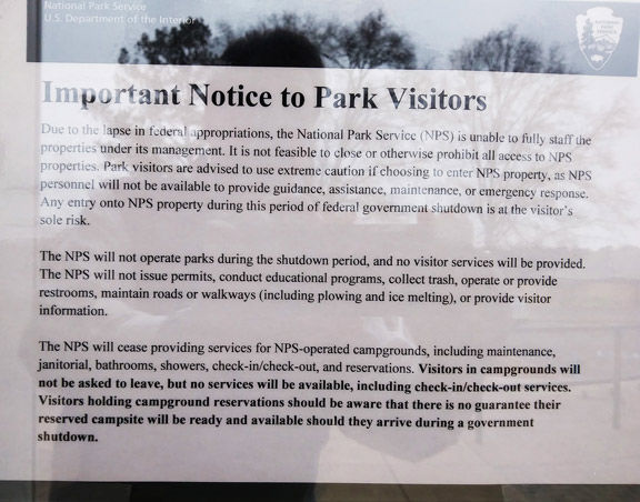 Park offices closed to visitors