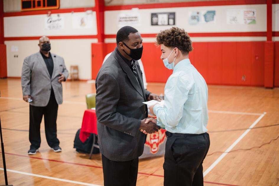 Rome Middle School football coaching staff honors players