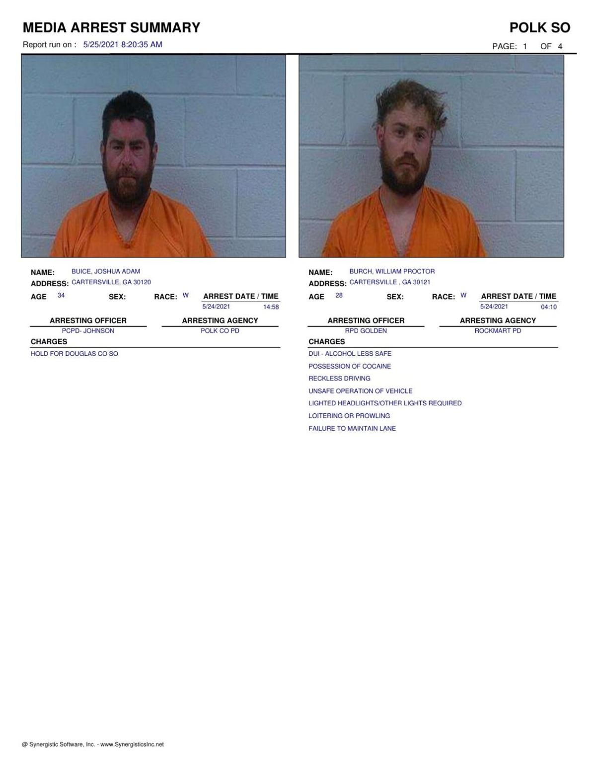 Polk County Jail Report for Tuesday, May 25