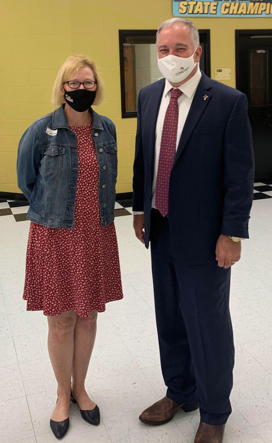 Georgia School Superintendent Richard Woods visits Rockmart High School