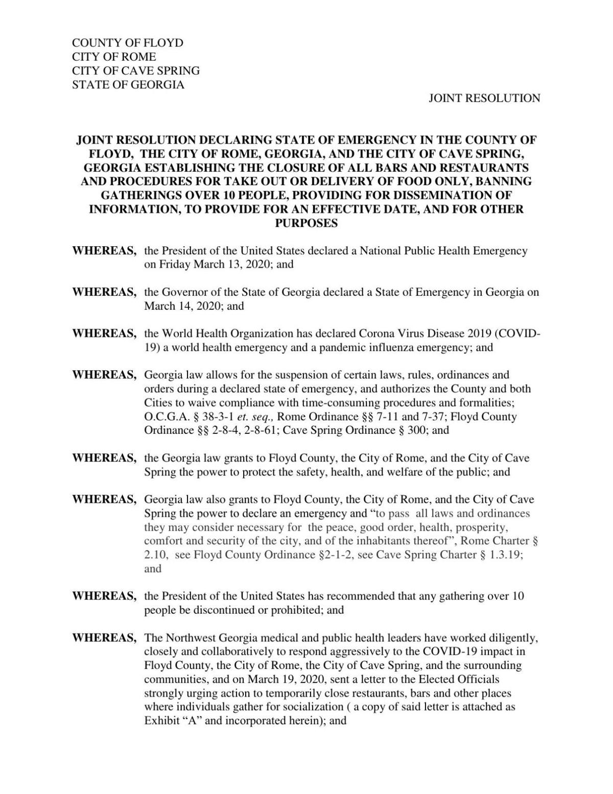 Joint State of Emergency declaration