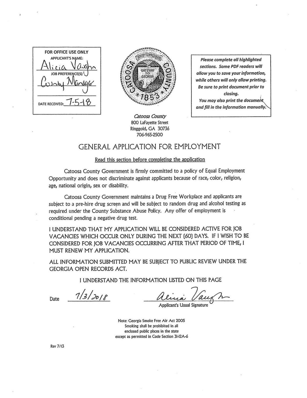 Alisha Vaughn application and resume