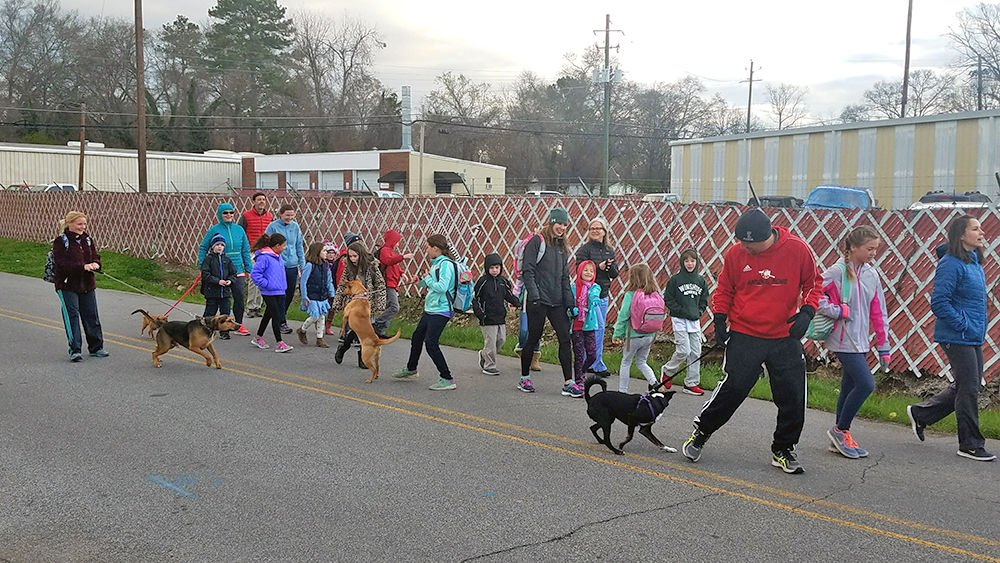 East Central students and parents enjoy Walk to School Day