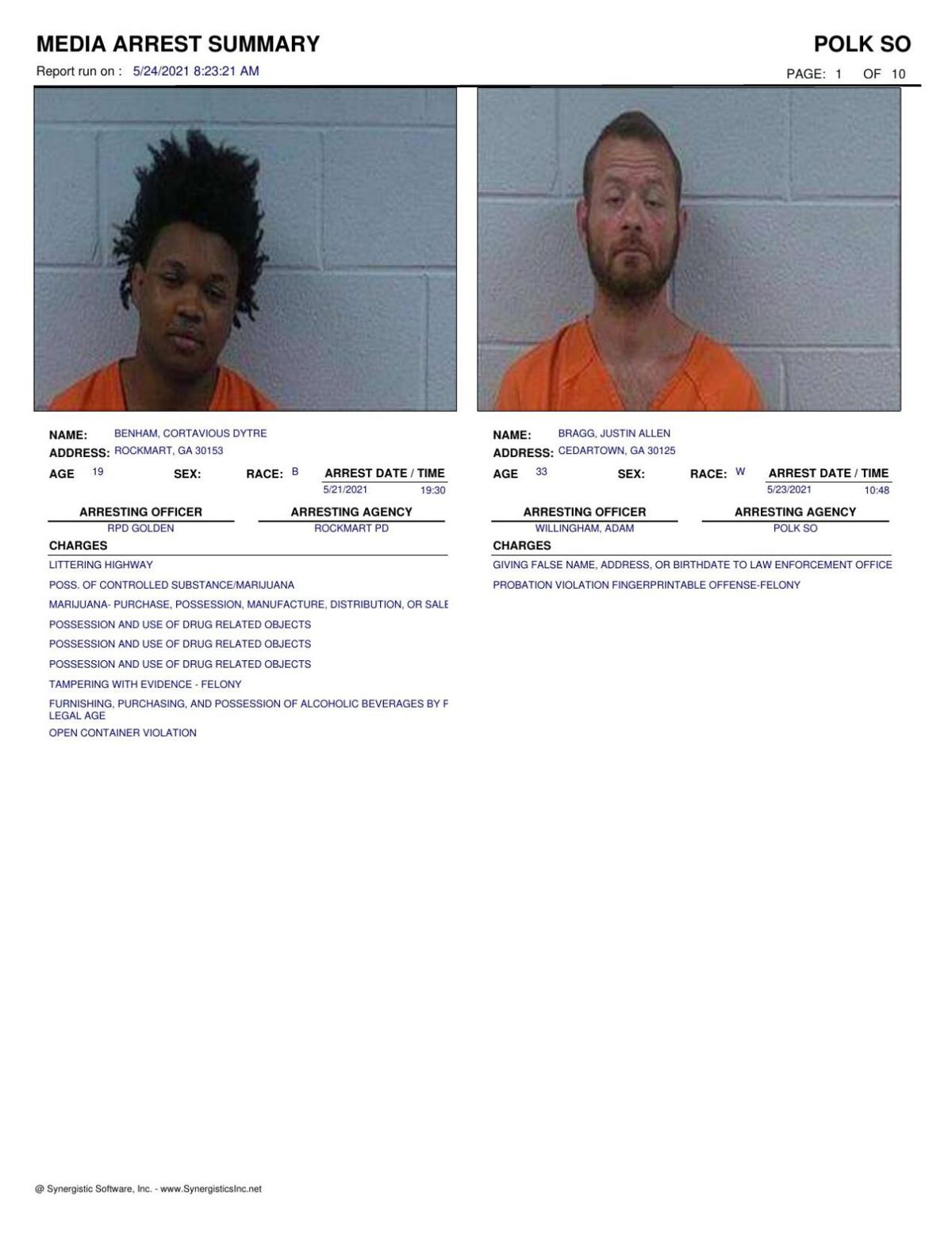 Polk County Jail Report for Monday, May 24