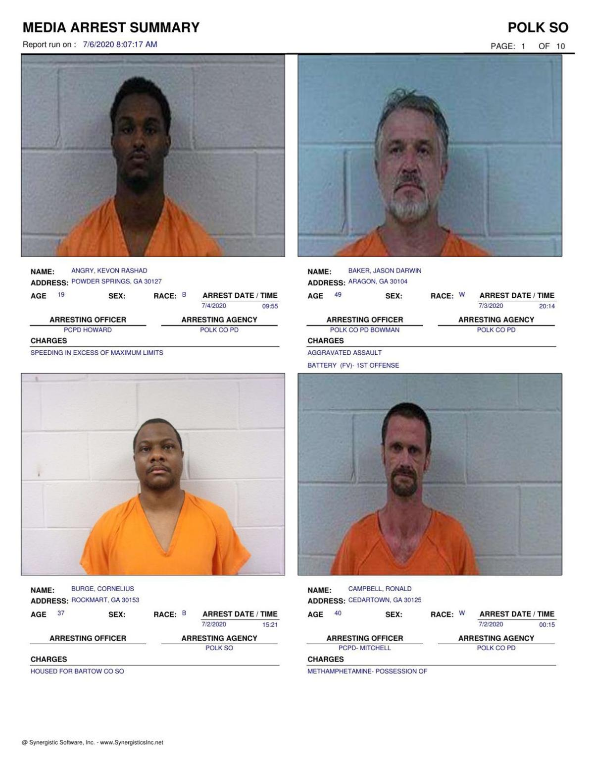 Polk County Jail Report for Monday, July 6
