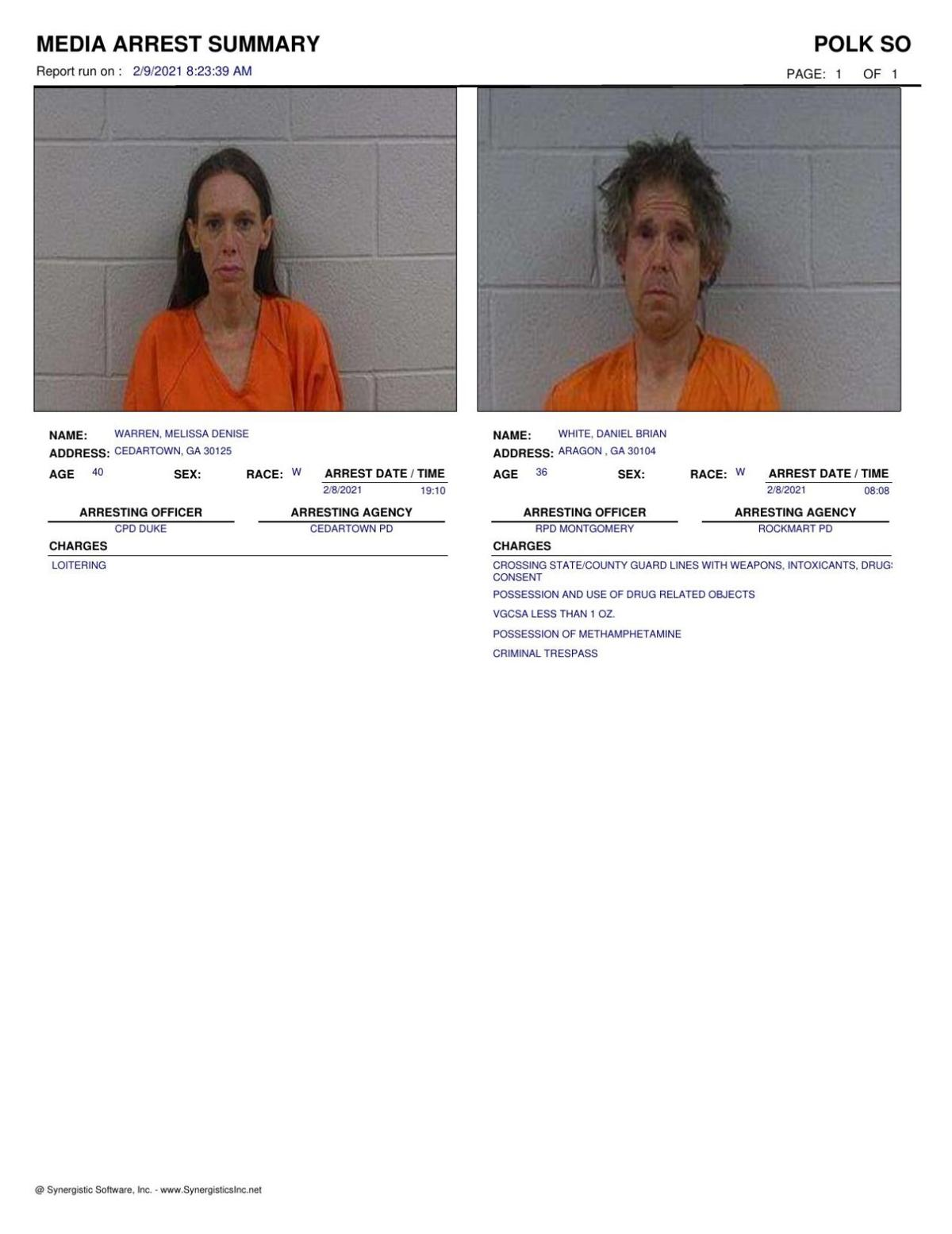 Polk County Jail Report for Tuesday, Feb. 9