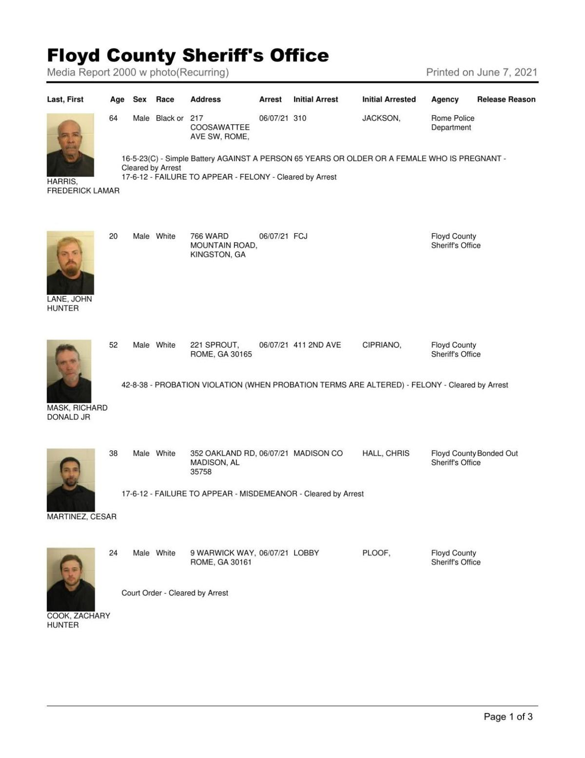 Floyd County Jail report for Monday, June 7