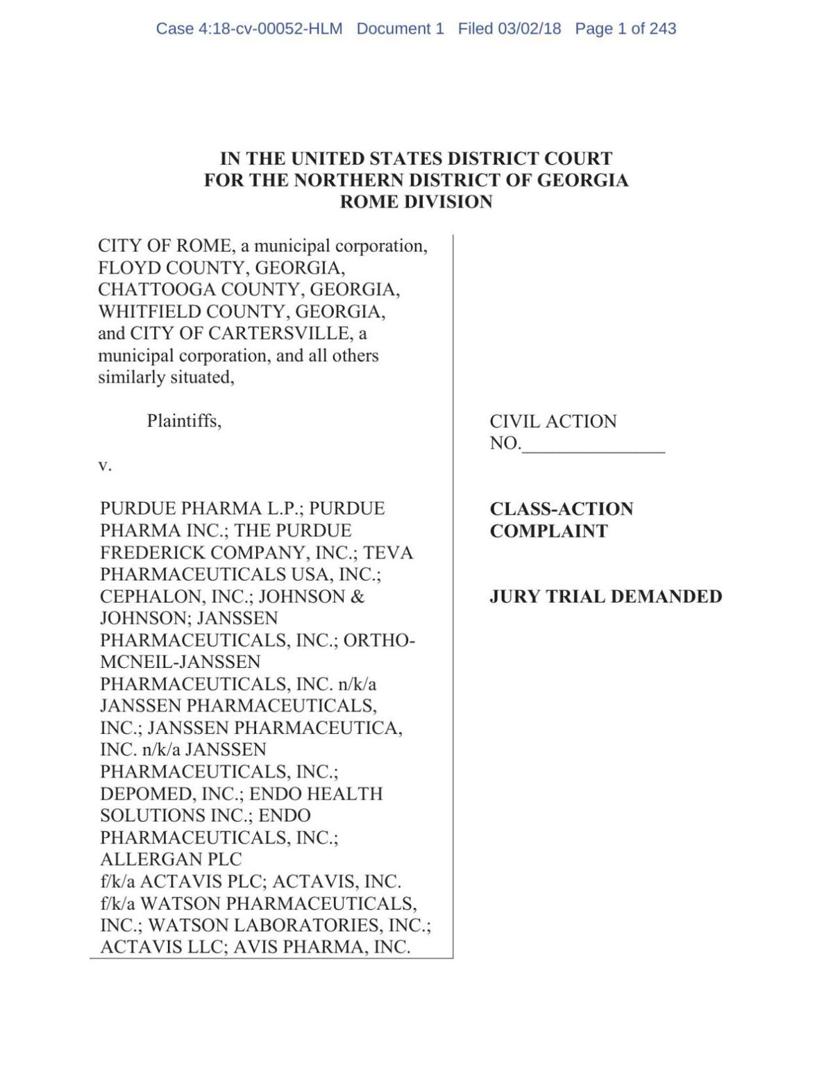 Opioid Lawsuit March 2, 2018