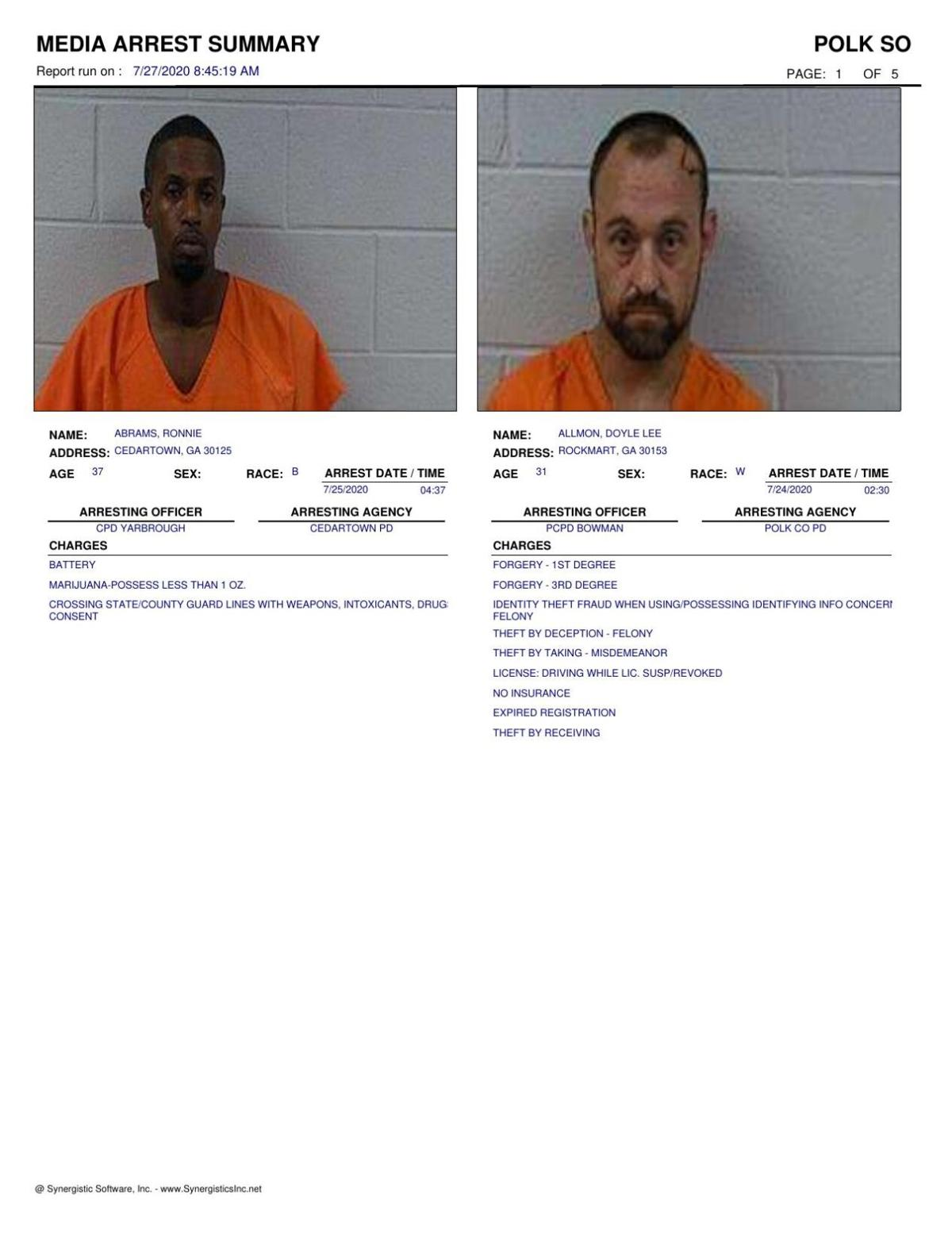 Polk County Jail Report for Monday, July 27