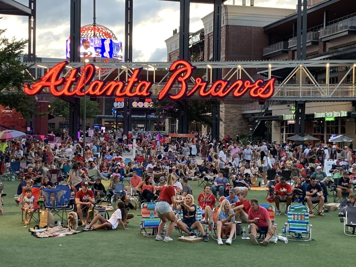 Braves fans outside stadium Aug. 22, 2020