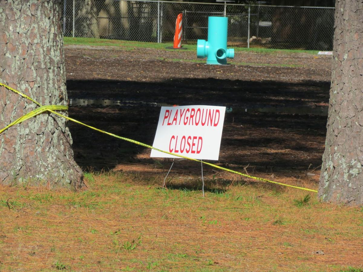 Fort O, Playground closed sign