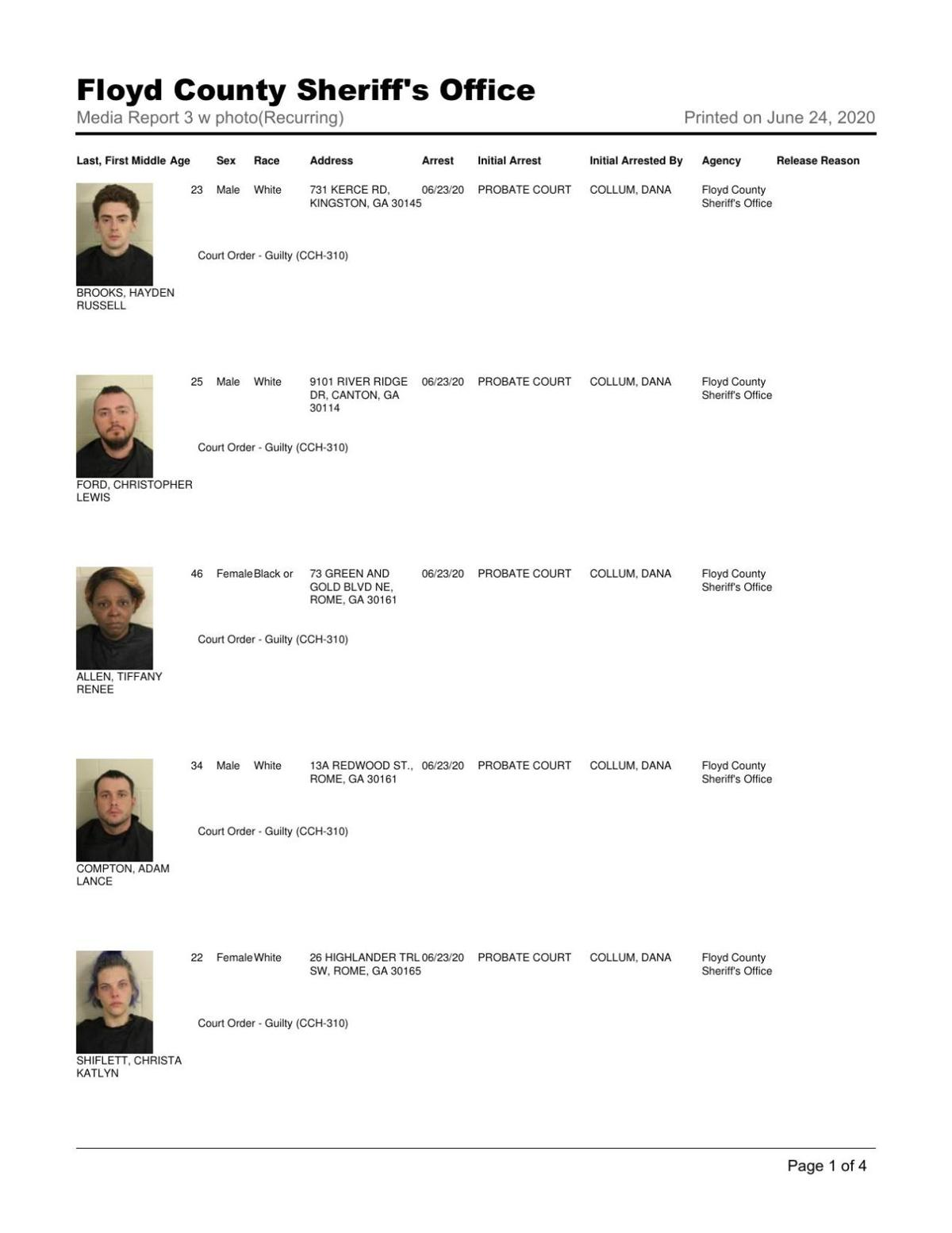 Floyd County Jail reports June 24, 8 a.m.