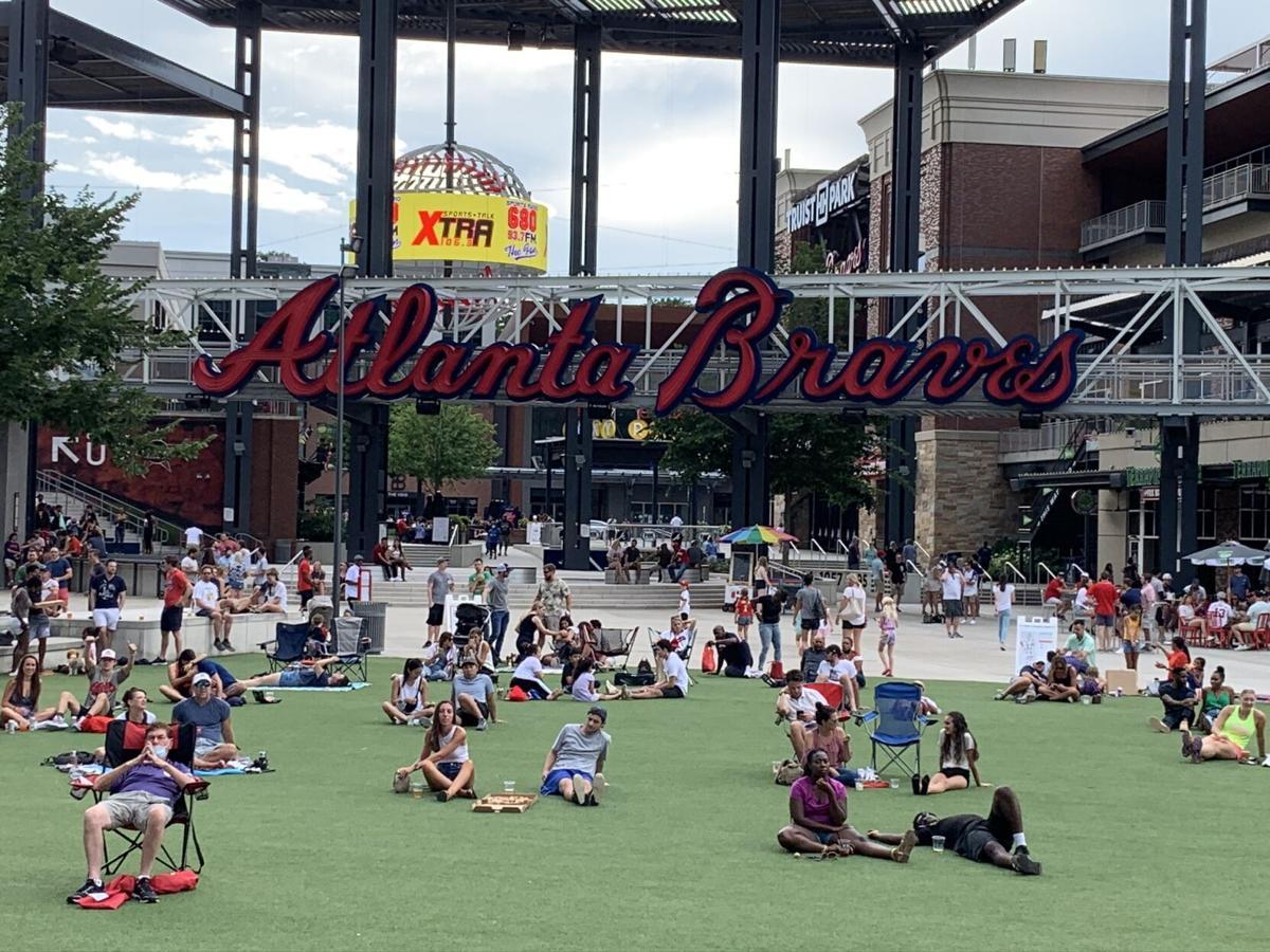 Braves fans outside Truist on July 25