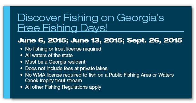 Go fishing with family and friends without buying a for Fishing license georgia