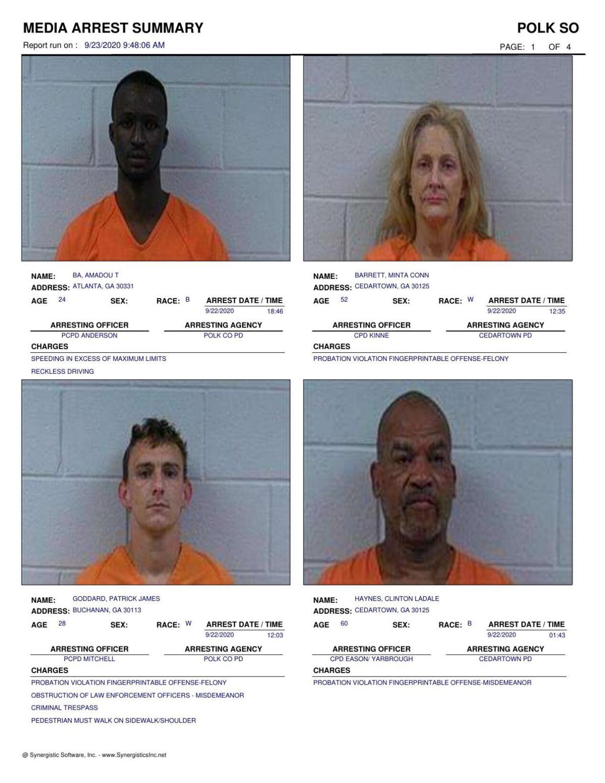 Polk County Jail Report for Wednesday, Sept. 23