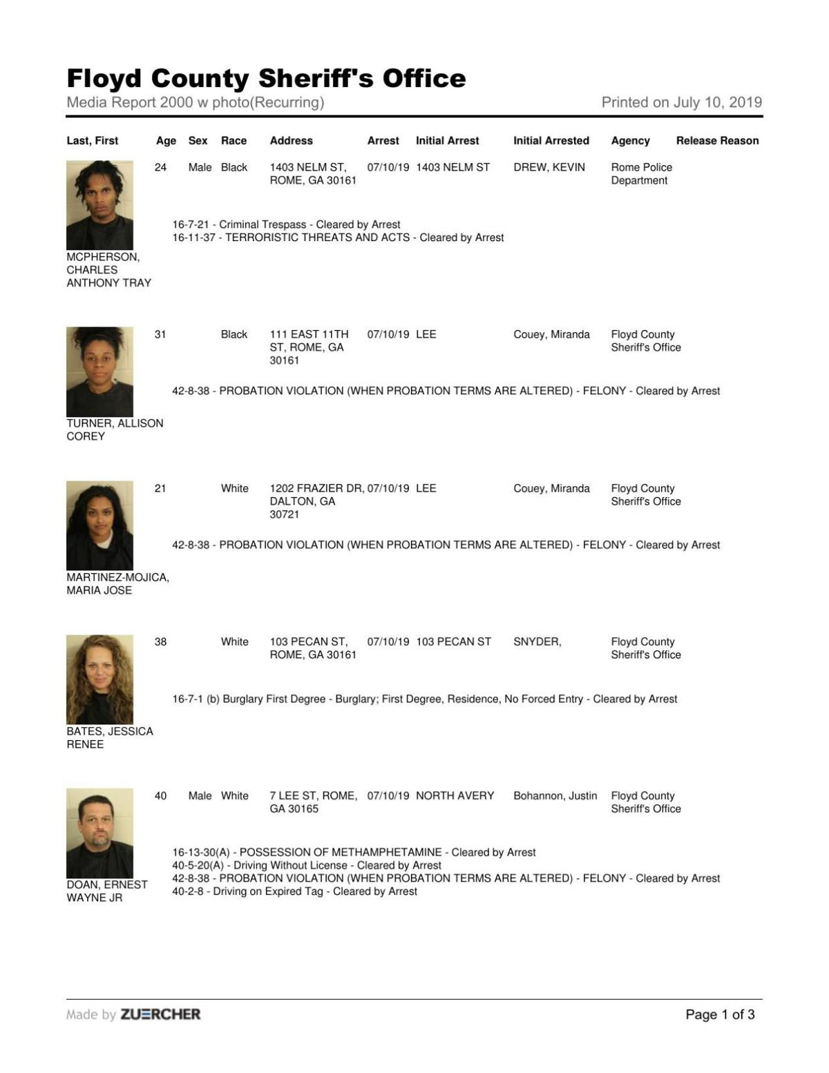 Floyd County Jail reports July 10, 8 p m  | Police/Fire news