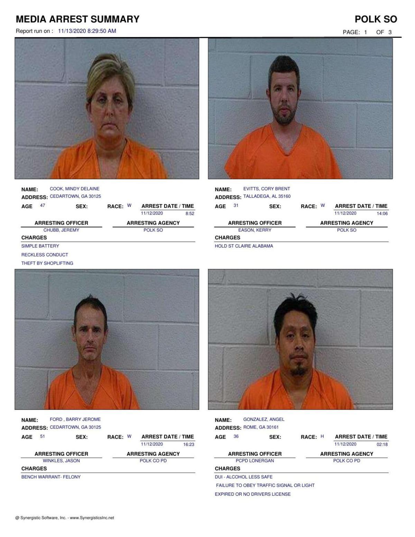 Polk County Jail Report for Friday, Nov. 13