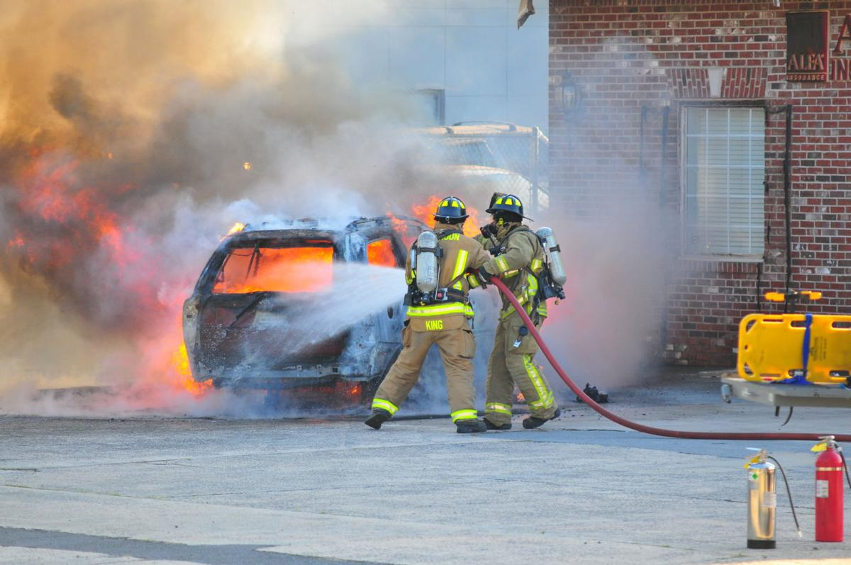 Vehicle fire in downtown