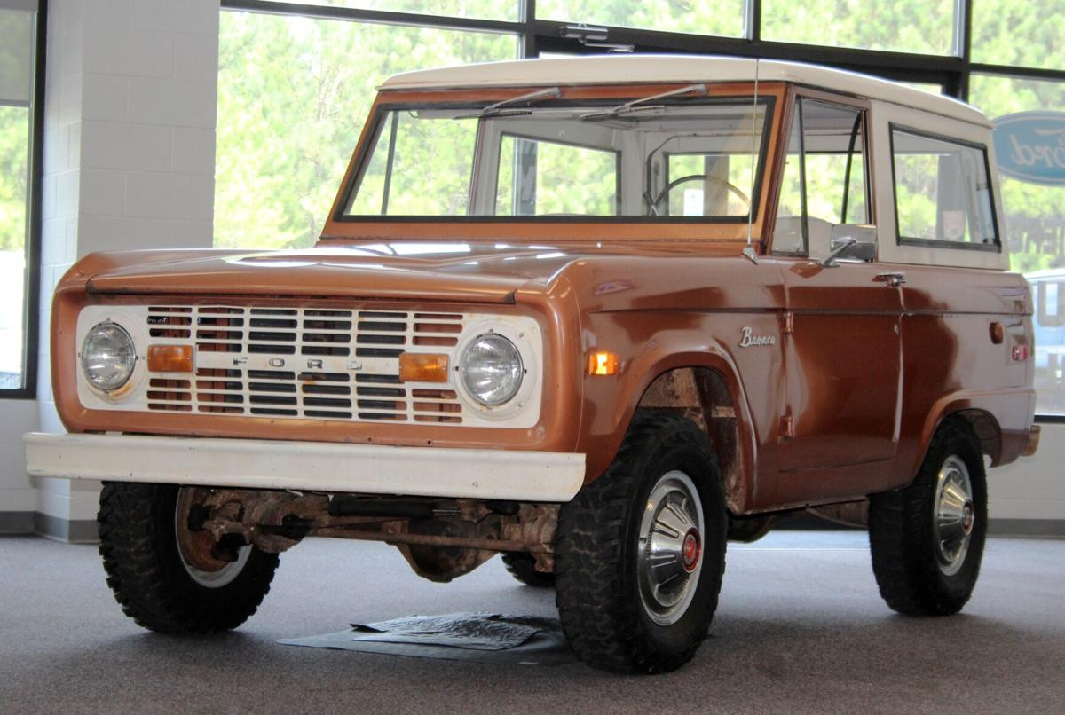 Local dealership displays classic 1974 Bronco as Ford brings back line