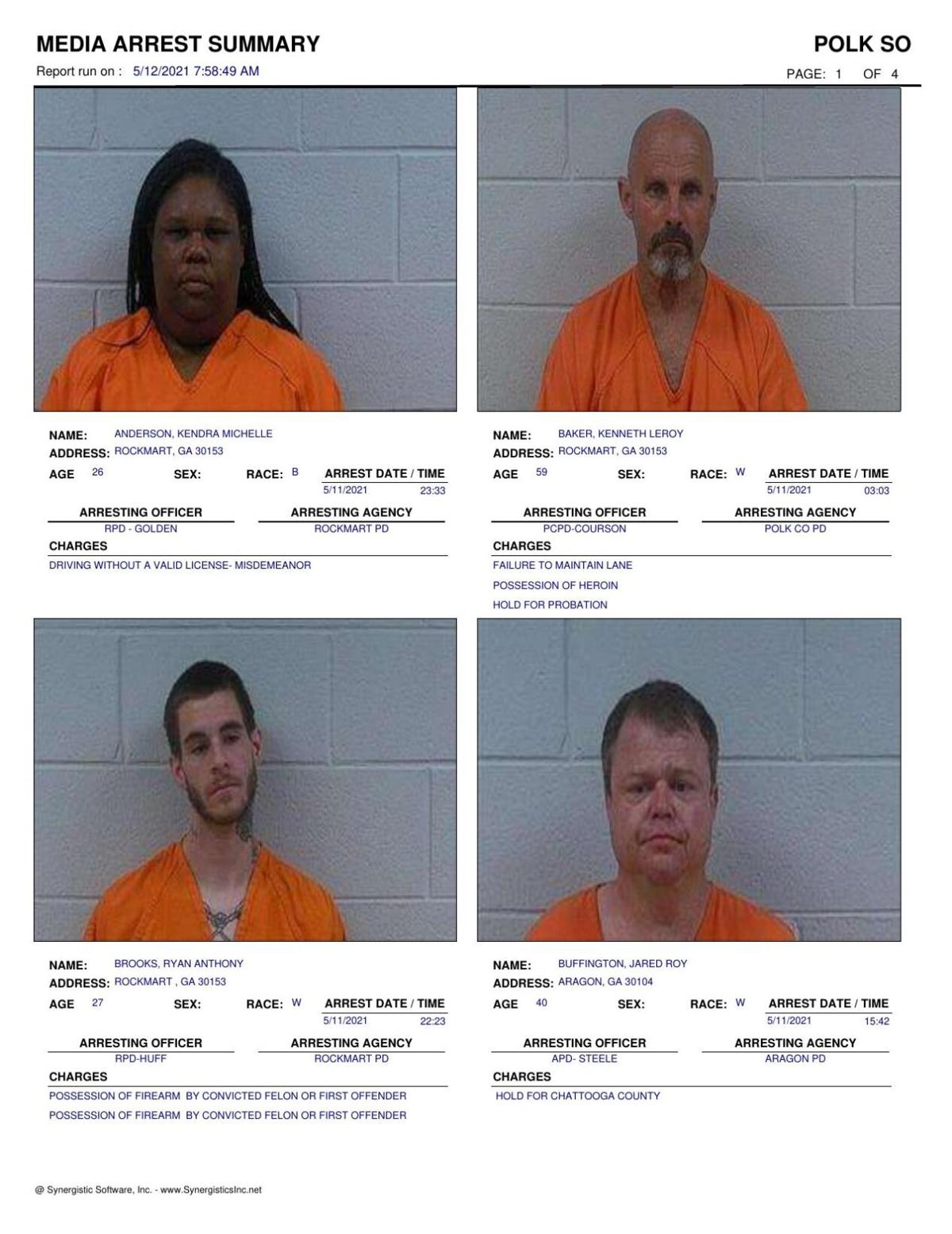 Polk County Jail Report for Wednesday, May 12