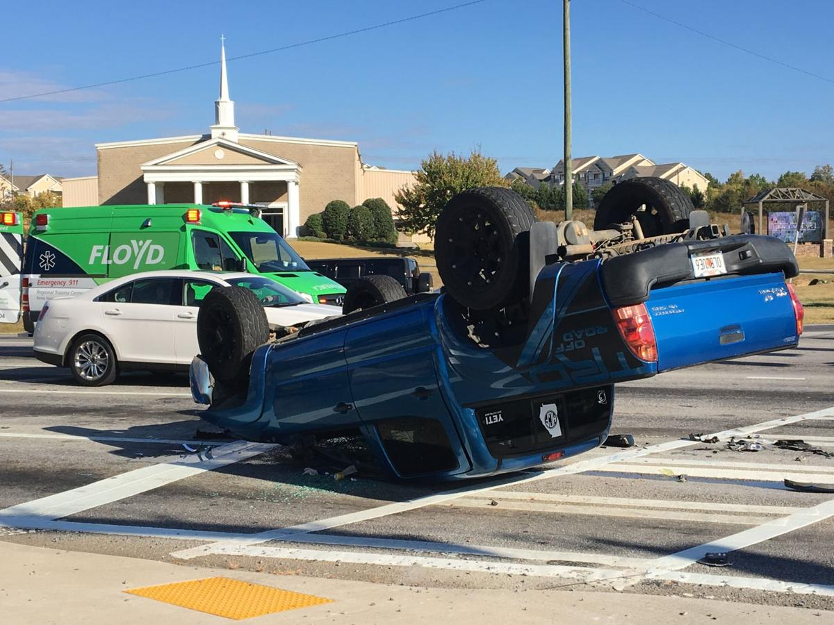 Truck overturns in wreck
