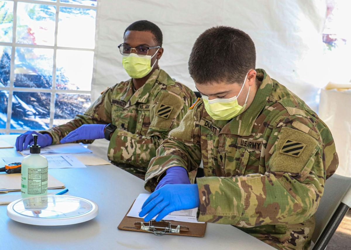 Guard soldiers assist with COVID-19 testing site