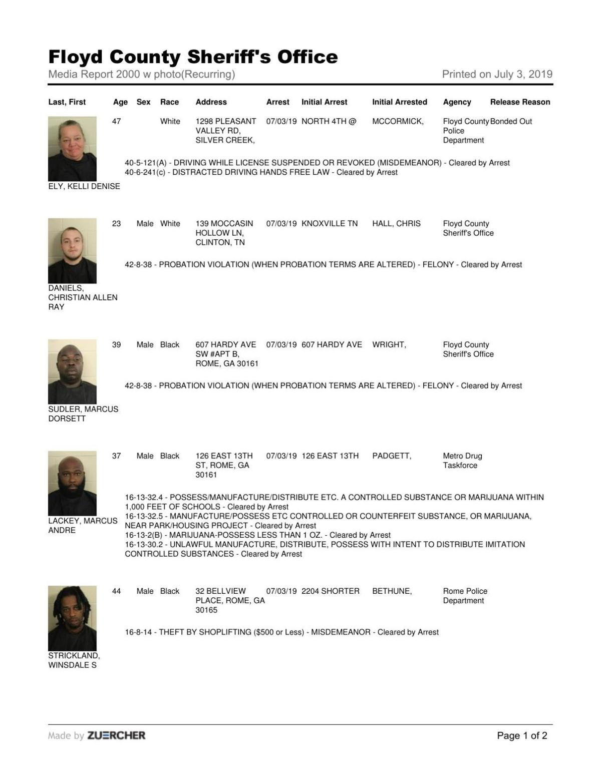 Floyd County Jail report for Wednesday, July 3