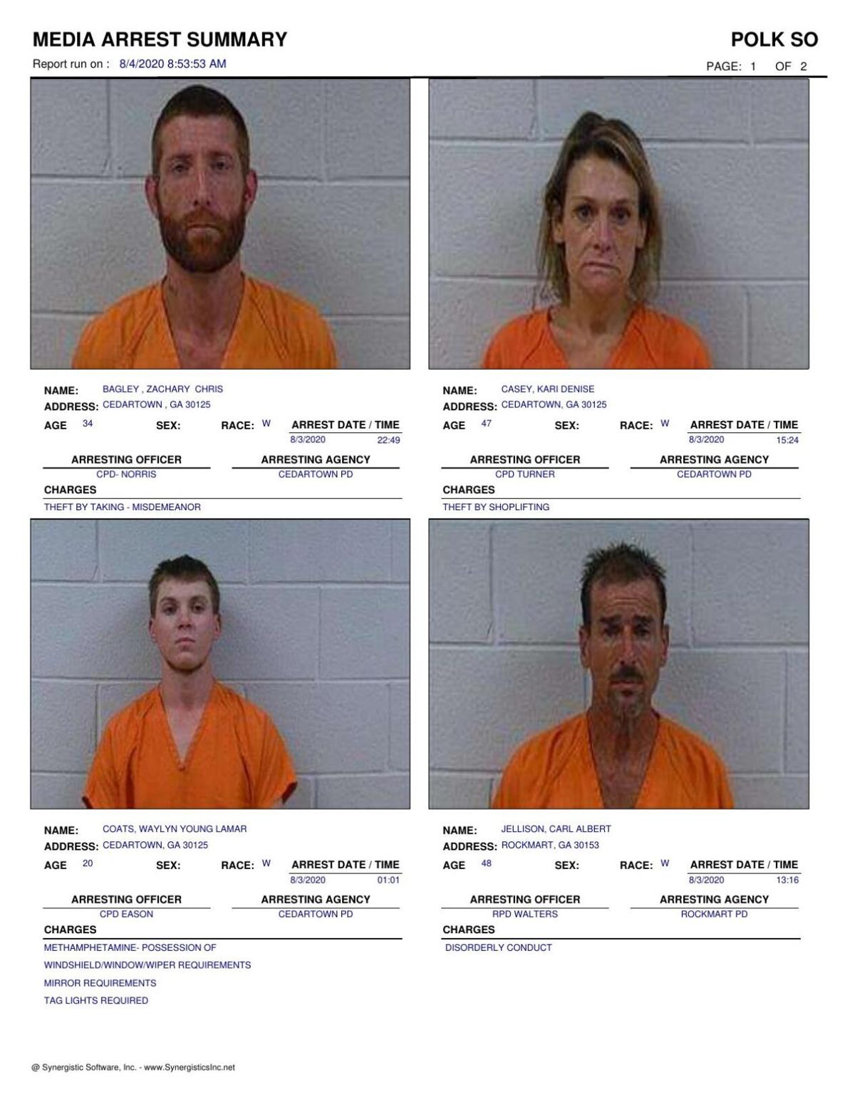 Polk County Jail Report for Tuesday, Aug. 4