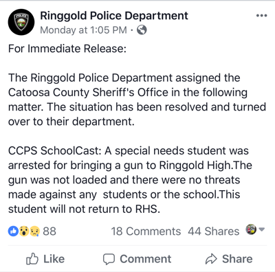 Student arrested for bringing gun to school.