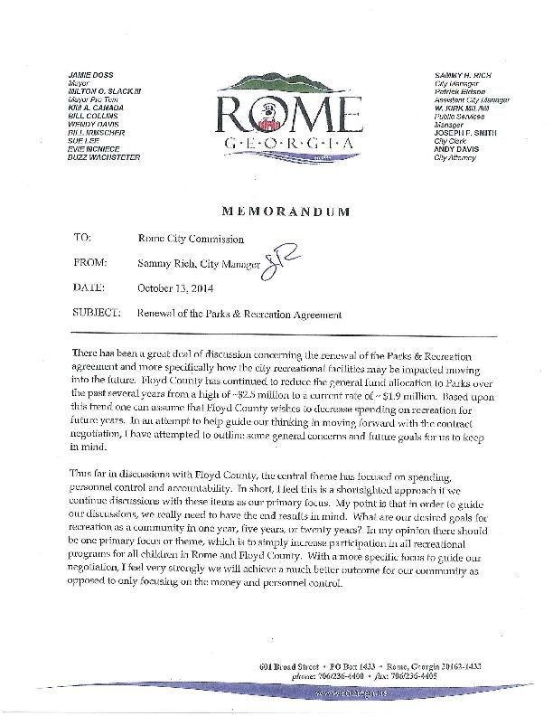 City Memorandum On Renewal Of Parks And Recreation Agreement