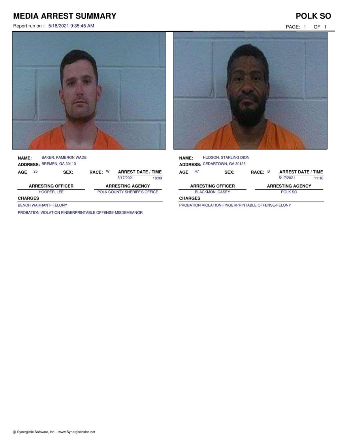 Polk County Jail Report for Tuesday, May 18