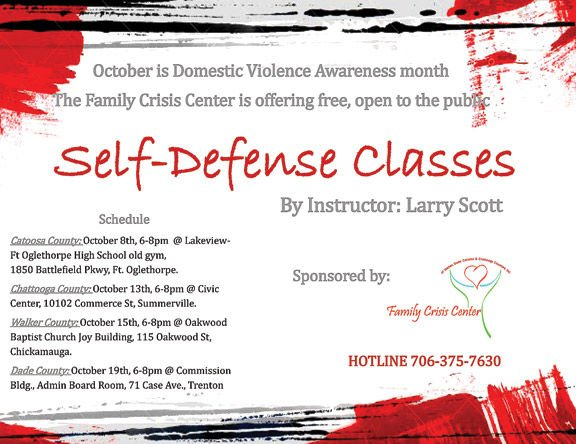 Self-defense classes will be offered