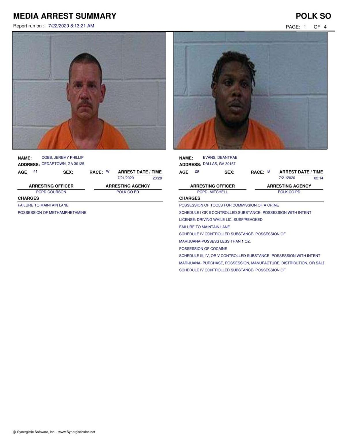Polk County Jail Report for Wednesday, July 22