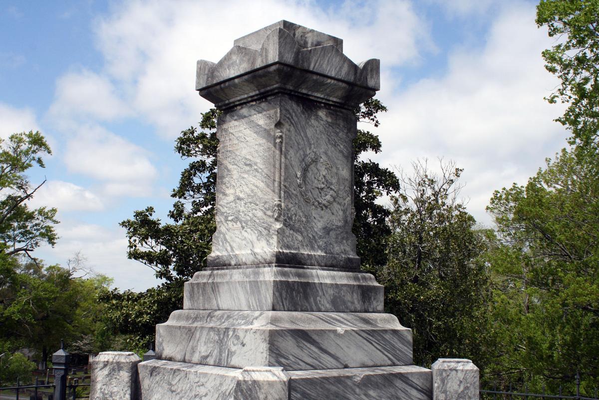Damaged Confederate monument