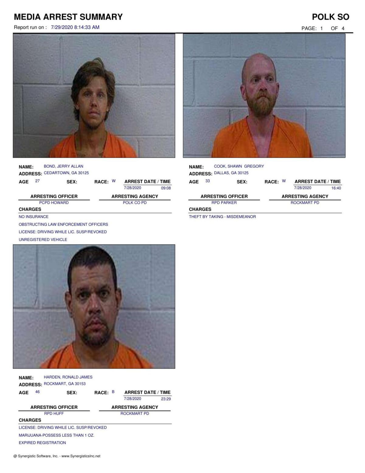 Polk County Jail Report for Wednesday, July 29