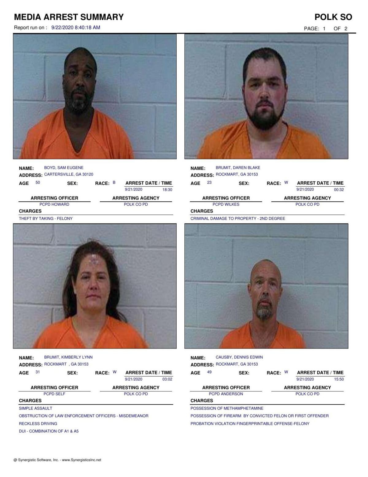 Polk County Jail Report for Tuesday, Sept. 22