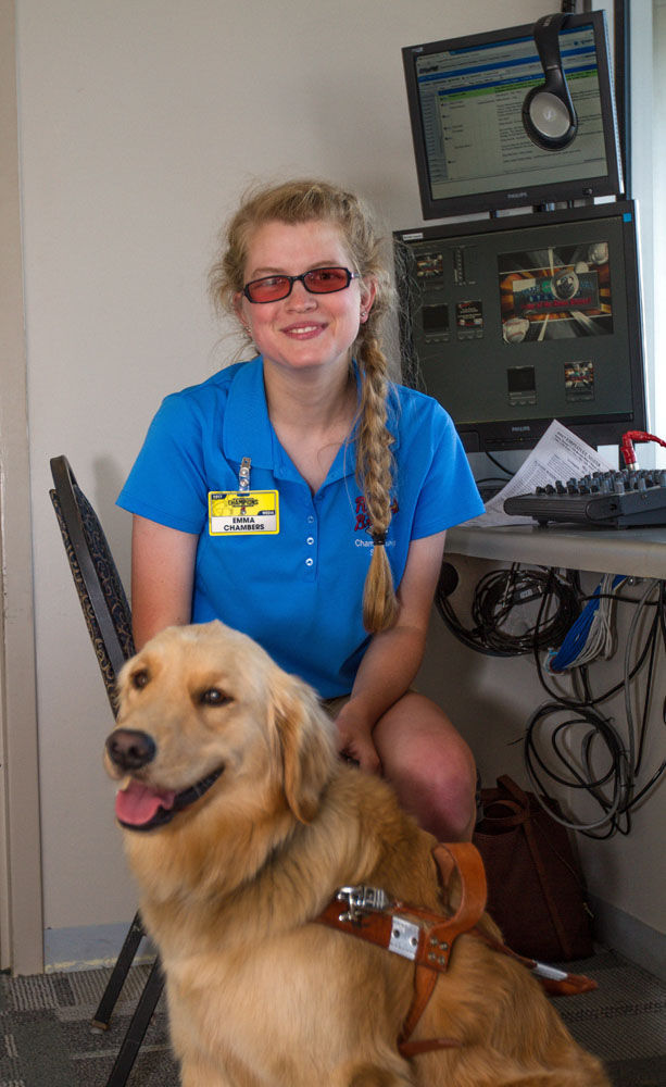 Emma Chambers and her guide dog Jetta