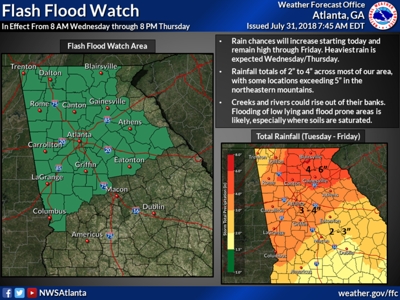 Flash flood watch issued for much of Northwest Georgia