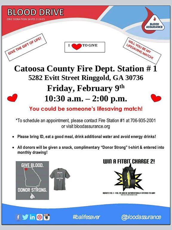 Blood drive is Friday, Feb. 9