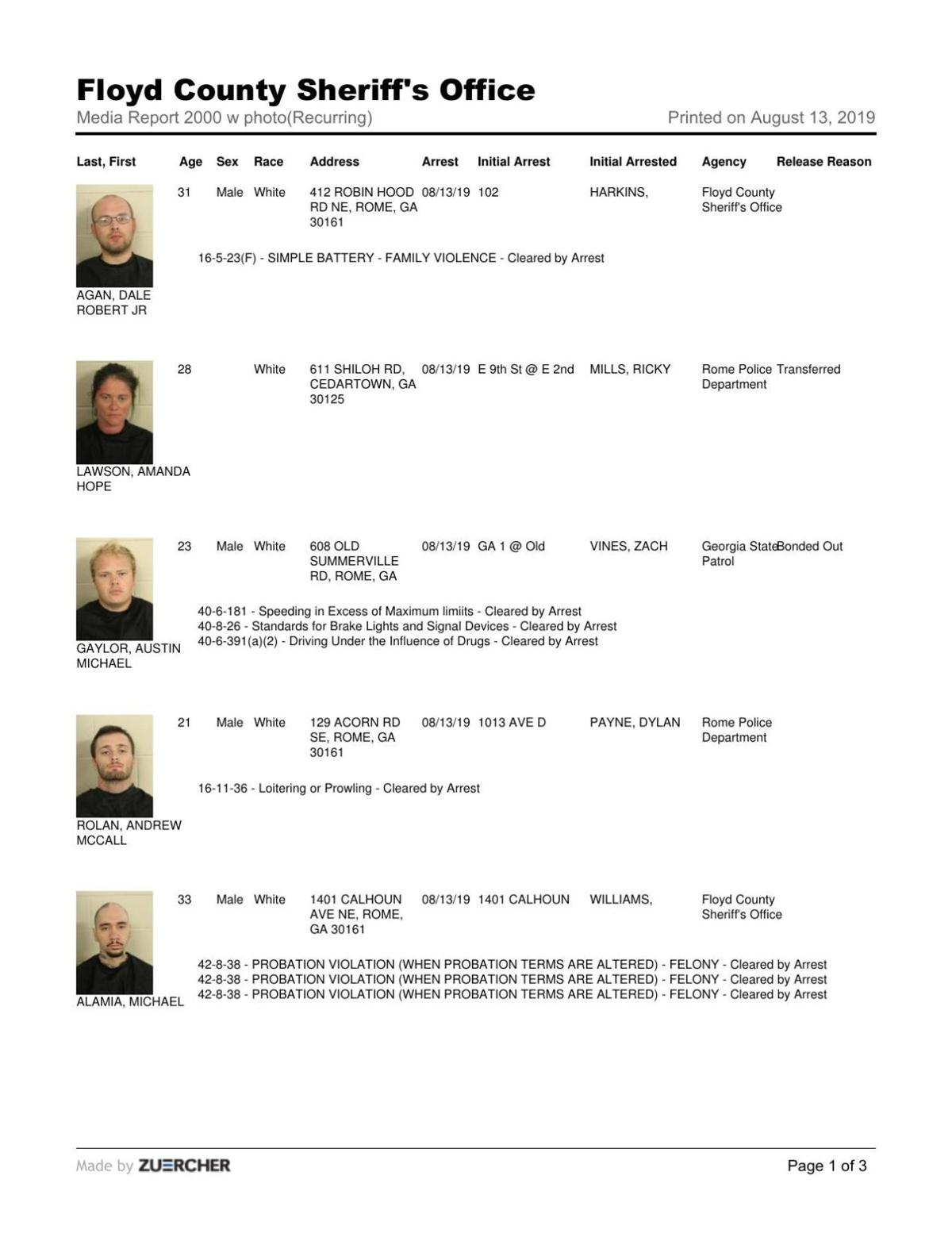 Floyd County Jail report for Tuesday, Aug. 13