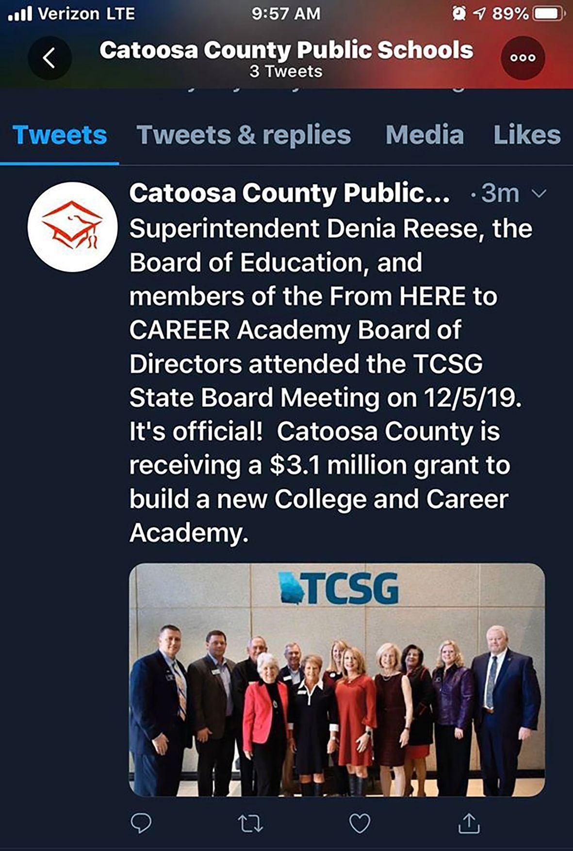 Tweet, Catoosa Schools gets $3 million grant for college/career academy