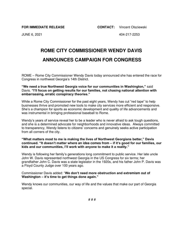 Davis for Congress announcement