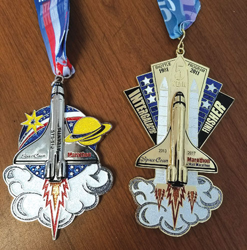 Southgate medals from Space Coast Marathon