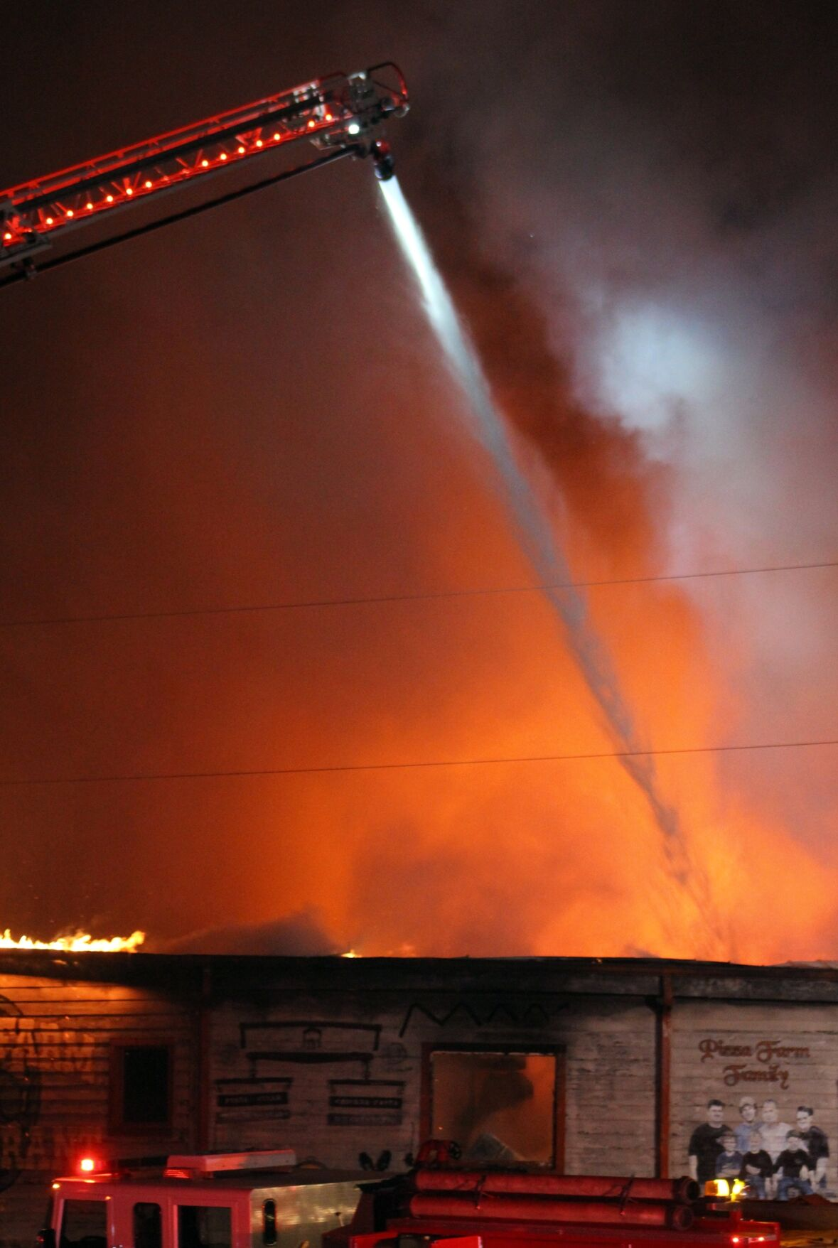 Early morning fire ravages Pizza Farm Restaurant