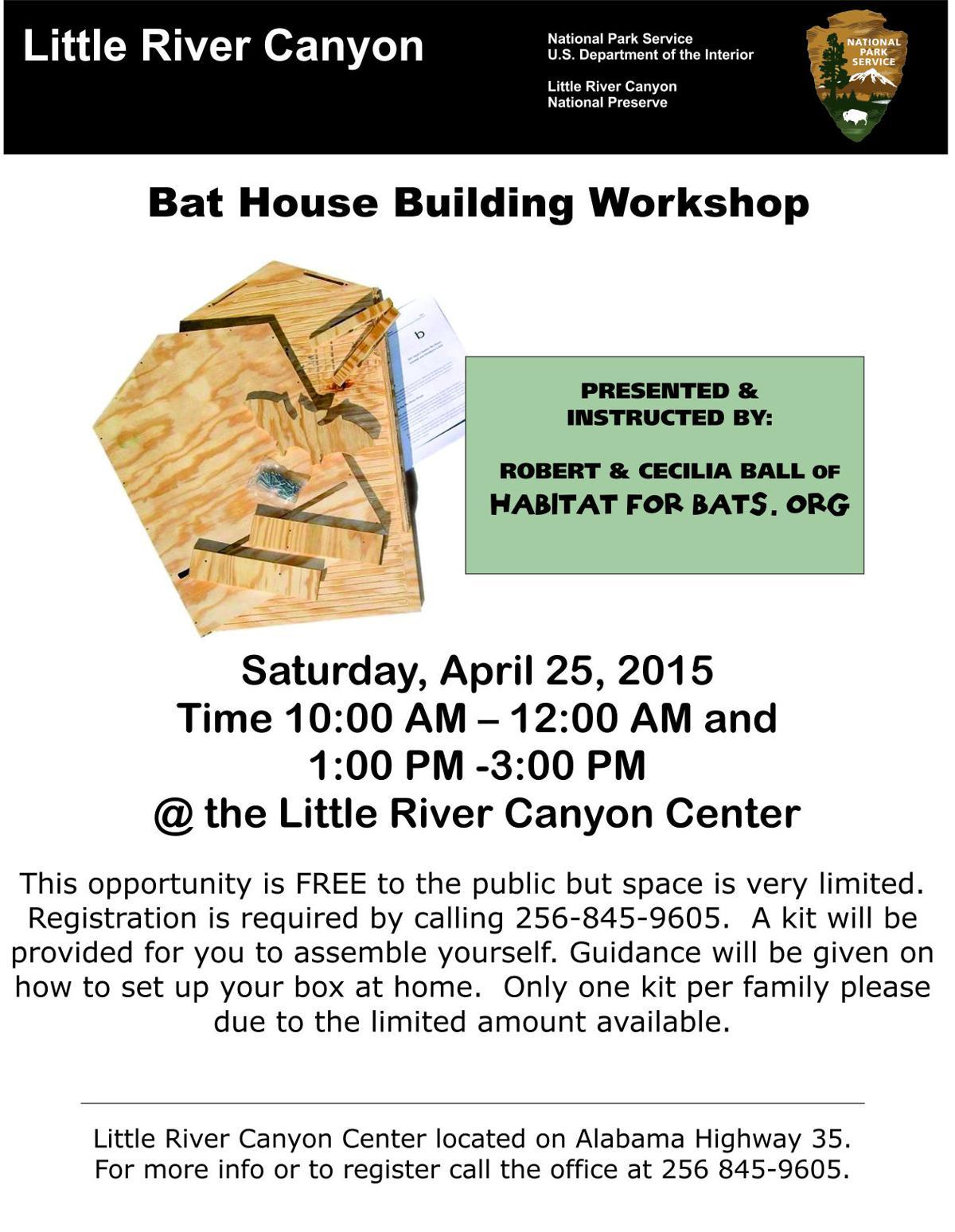 Little River Canyon bat house building workshop