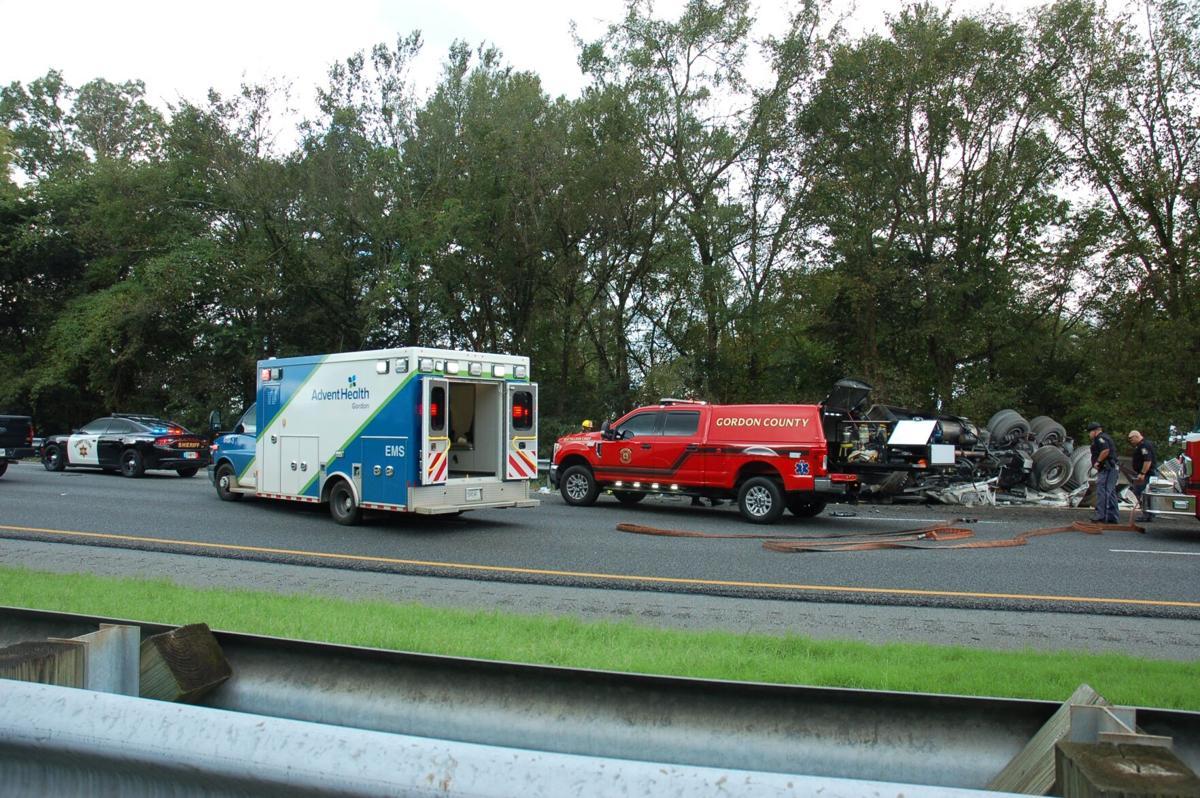 Semi truck overturns, catches fire on I-75 near Adairsville