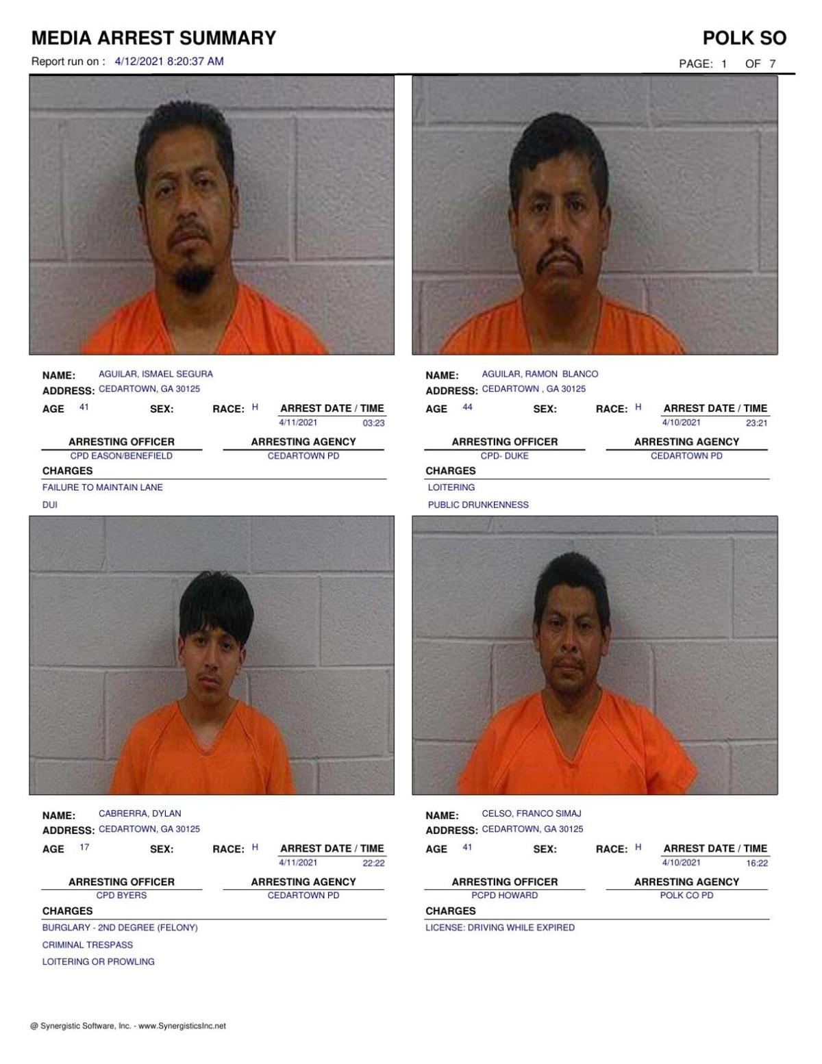 Polk County Jail Report for Monday, April 12