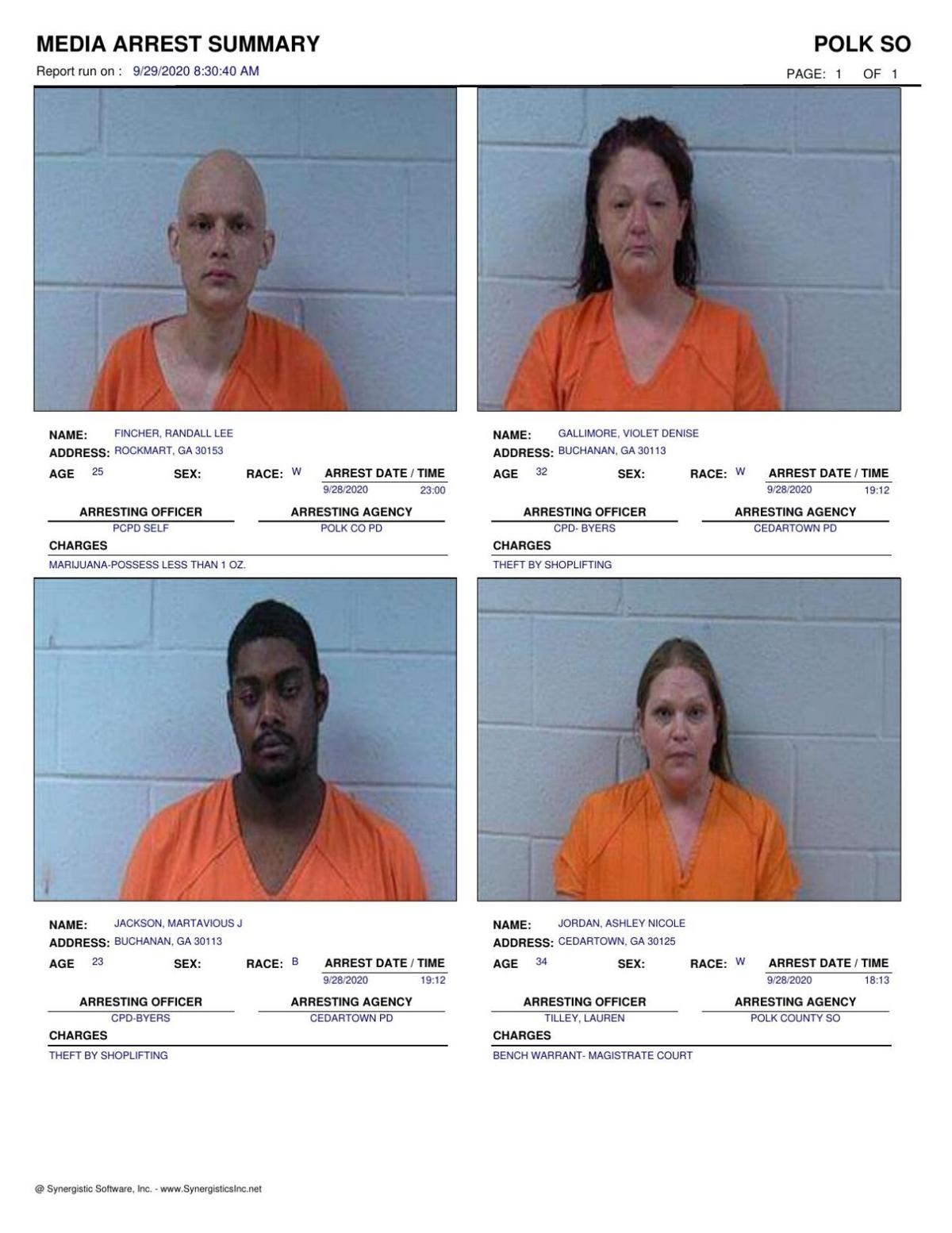 Polk County Jail Report for Tuesday, Sept. 29