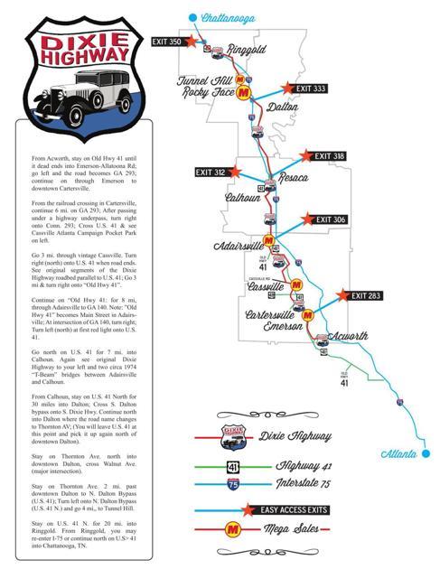 Map Of Highway 41 In Georgia.Dixie Highway Yard Sale Map Northwestgeorgianews Com